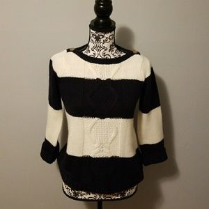 The Limited blue and cream sweater